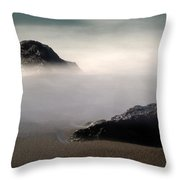 Rocks On Black Sand Beach Throw Pillow