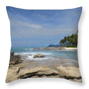 Rocks Trees And Ocean Throw Pillow