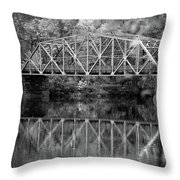 Rocks Village Bridge In Black And White Throw Pillow