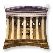 Rocky Balboa On The Art Museum Steps Throw Pillow