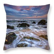 Rocky Beach At Sandy Hook Throw Pillow