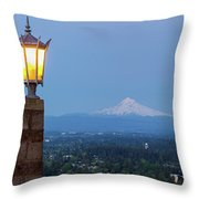Rocky Butte Viewpoint With Mount Hood During Evening Blue Hour Throw Pillow