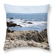 Rocky California Coastline Throw Pillow