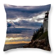 Rocky Cliffs Below Maine Lighthouse Throw Pillow