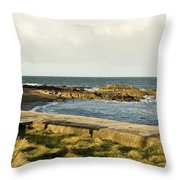 Rocky Coast Bench Throw Pillow