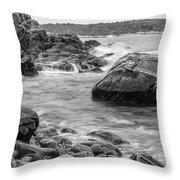 Rocky Coast Of Maine In Bw Throw Pillow by Doug Camara