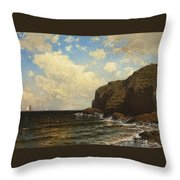 Rocky Coast With Breaking Wave Throw Pillow
