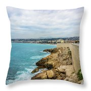 Rocky Coastline In Nice, France Throw Pillow