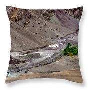 Rocky Landscape Of Leh City Ladakh Jammu And Kashmir India Throw Pillow