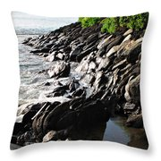 Rocky Maui Coast Throw Pillow