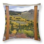 Rocky Mountain Autumn Picture Window View Throw Pillow