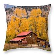 Rocky Mountain Autumn Ranch Landscape Throw Pillow