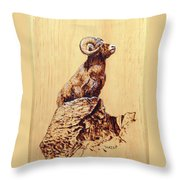 Rocky Mountain Bighorn Sheep Throw Pillow