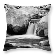 Rocky Mountain Canyon Waterfall In Black And White Throw Pillow