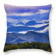 Rocky Mountain Cloud Layers Throw Pillow