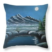 Rocky Mountain Fullmoon Throw Pillow