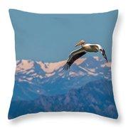 Rocky Mountain Pelican Throw Pillow