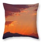 Rocky Mountain Religious Sunset Throw Pillow