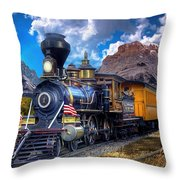 Rocky Mountain Train Throw Pillow