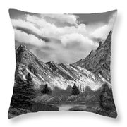 Rocky Mountain Tranquil Escape In Black And White Throw Pillow
