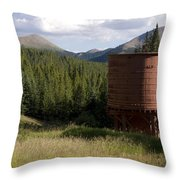 Rocky Mountain Water Tower Throw Pillow