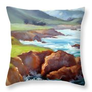 Rocky Point Afternoon Big Sur Throw Pillow