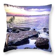 Rocky River Shore Throw Pillow
