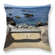 Rocky Seaside Bench Throw Pillow