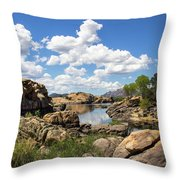 Rocky Shore And Pristine Water Throw Pillow