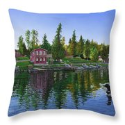 Rocky Shore Lodge Throw Pillow