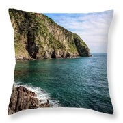 Rocky Shore Riomaggiore Cinque Terre Italy Throw Pillow