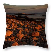 Rocky Shoreline And Islands At Sunset Throw Pillow