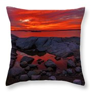 Rocky Shoreline At Sunset Throw Pillow