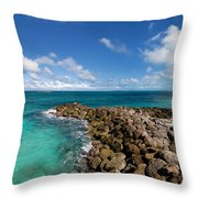 Rocky Shoreline On The Beach At Atlantis Resort Throw Pillow