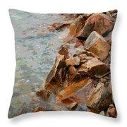 Rocky Shoreline Throw Pillow