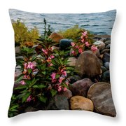 Rocky Shores Of Lake St. Clair- Michigan Throw Pillow