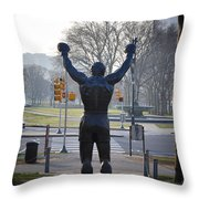 Rocky Statue From The Back Throw Pillow