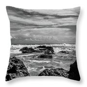 Rocky Waters In Bw Throw Pillow