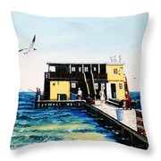Rod And Reel Fishing Pier Throw Pillow