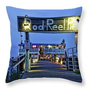 Rod And Reel Pier Throw Pillow