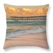Rodanthe Fishing Pier Sunset On The Outer Banks In Carolina Panorama Throw Pillow