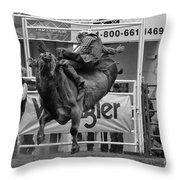 Rodeo Bull Riding 1 Throw Pillow