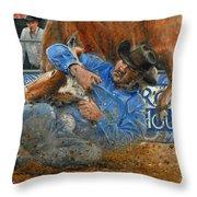 Rodeo Houston --steer Wrestling Throw Pillow