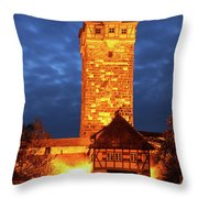 Rodertor At Twilight In Rothenburg Throw Pillow