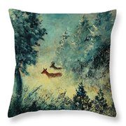 Roe Deers In September Morning Light Throw Pillow