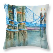 Roebling On The Ohio River Throw Pillow