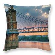 Roebling Suspension Bridge - Cincinnati, Ohio Throw Pillow