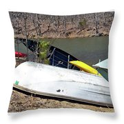 Rowboats Ashore  Throw Pillow