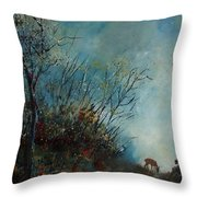 Roedeer In The Morning Throw Pillow