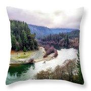 Rogue River Bend Pano Throw Pillow